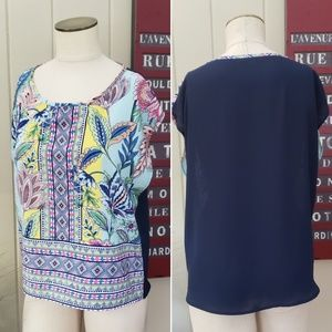 GLAM | S multi print front solid Navy back top